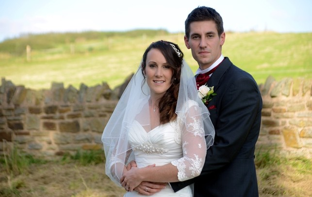 Olympic rowers Natasha Page and Sam Townsend on their wedding day at Hartpury Church, Gloucestershire
