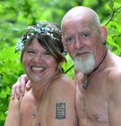 Helen and John Dobson during their naked Pagan wedding