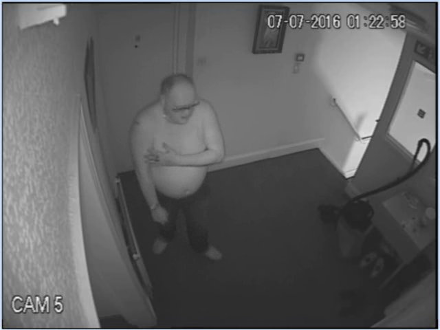 Jeffrey Barry is caught on CCTV entering the flat of Kamil Ahmed.
