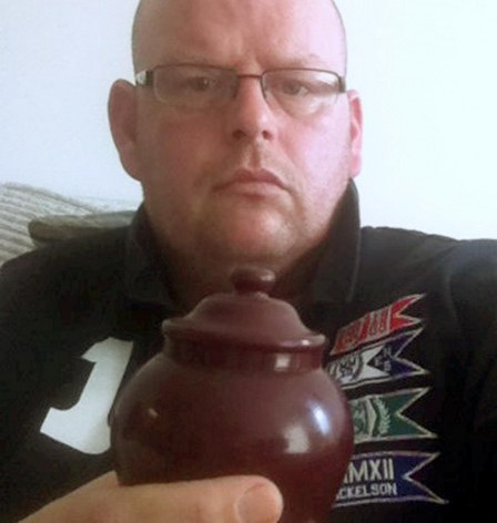 Barry Cleaver with the urn which police thought might contain drugs