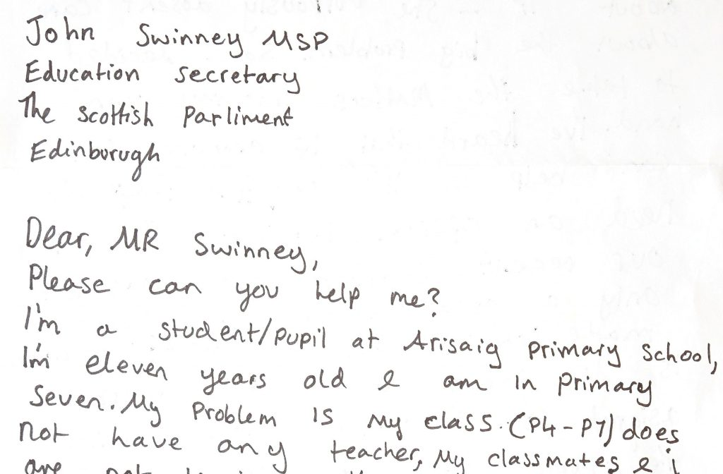 Poppy Dennis's letter.  A frustrated 11-year-old girl has written directly to the Scottish Education Secretary to complain that she doesn't have a teacher.