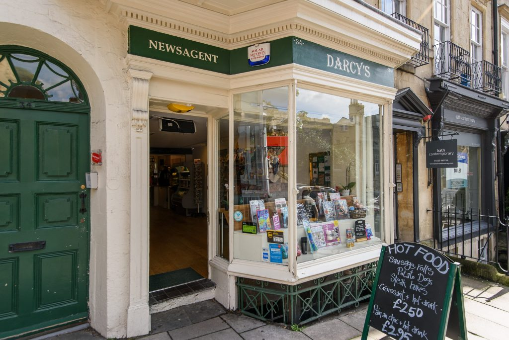 Darcy's in Gay Street, Bath which one of Britain's poshest newsagent - with its own chandelier and on the same street as former home of Jane Austen.