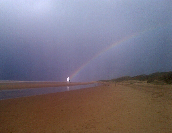 The rainbow at the spot where Deryk scattered his wife's ashes