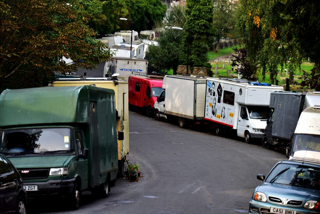 A general view of caravans and vans in which people are living in on Bristol streets.