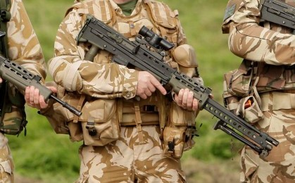 An SA80-A2 rifle, the same type as the one which has disappeared from a British Army base in Yorkshire