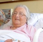 Ruth Robinson in her hospital bed after she became impaled on a stepladder