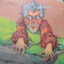This is the self-portrait of Rolf Harris at the Theatre Royal Plymouth, Devon, which theatre bosses have covered