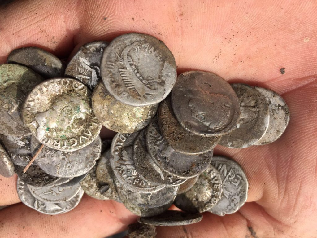 Hundreds of Roman denarii have been found by Historian Mike Scale during a metal detectors event in Bridport, Dorset.