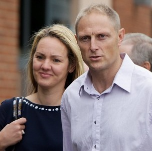 Former SAS sniper Danny Nightingale and his wife Sally arrive at an earlier cour hearing. He has now been given a suspended sentence for hoarding a gun and ammo from Iraq