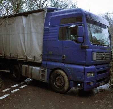 The Polish lorry which has been stuck on a narrow country lane for two days