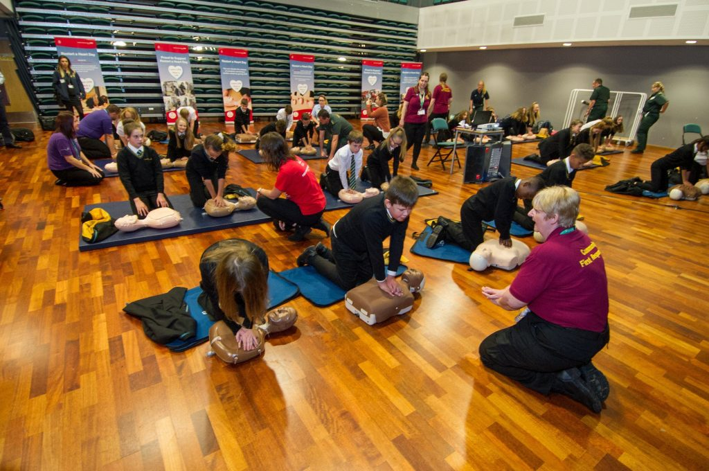 Pupils at West Leeds Academy School, Intake Lane, Leeds, taking part in the Yorkshire Ambulance Service's 'Restart a Heart Day' to boost cardiac survival rates.