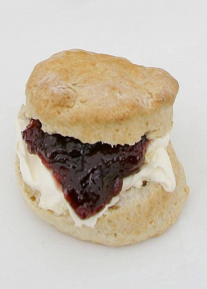 A traditional Cornish scone, jam and clotted cream