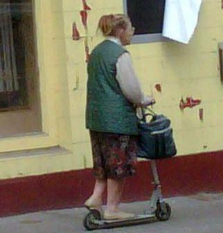 Barbel speeds along on her unique mode of transport