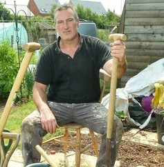Nick Thomas pictured with the hard standing and tools left when thieves made off with his shed