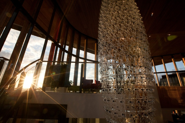 The world's largest solar chandelier shimmers as it is unveiled to mark the first anniversary of the Bristol & Bath Science Park