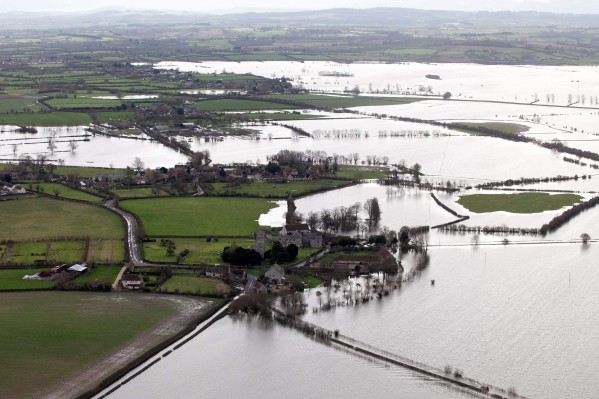 The flooded village of Muchelney, Somerset, one of many areas where thieves are using boats to target homes