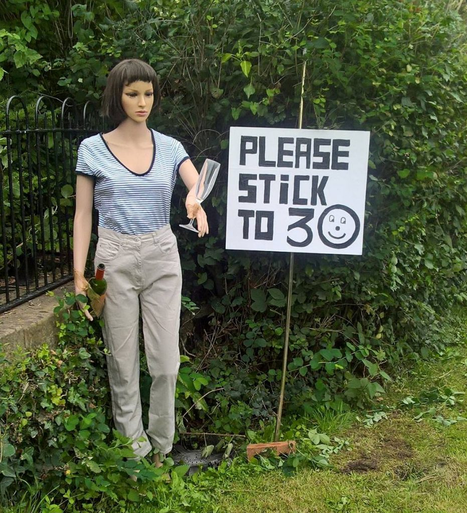 Betty the mannequin which is being used to stop speeding in a Gloucestershire village