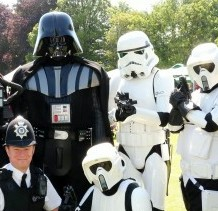 Shepton Mallet PC George Simpson with some of the Star Wars characters who attended the Collett Park Festival in Shepton Mallet