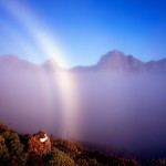 The ethereal beauty of a mist bow and fog at Mount Anne in Tasmania by Grant Dixon for August