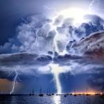 Lightning illuminates a cumulonimbus cloud over Corio Bay, Victoria by James Collier