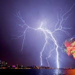 Nature complements fireworks during Australia Day 2012 celebrations in Perth, in a stunning shot by Matthew Titmanis