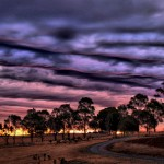 Sunset highlights streets of stratocumulus over Buninyong, central Victoria by Keith Day
