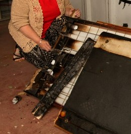 Christine Bradley, 56, at her home in Hartlepool, where her hired sunbed caught fire causing fire