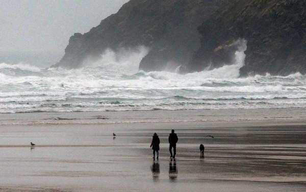 The scene at Mawgan Porth, Cornwall, where three surfers died