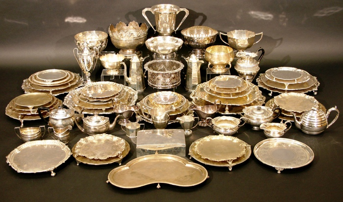 A collection of silverware that was found at the unassuming home in Swindon