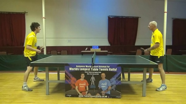 Daniel (left) and Peter Ives who have broken the Guinness World Record for the Longest Table Tennis Rally, taking 8 hours and 40 minutes