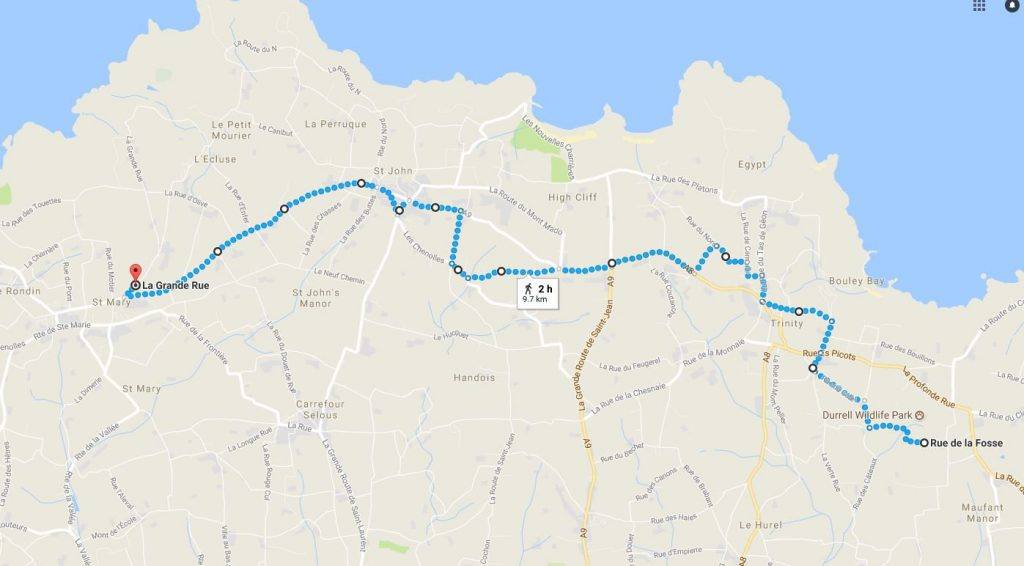 An entirely speculative route which Freddie the tortoise might have taken after he escaped from his home on Jersey and was found six miles away near Jersey Zoo.