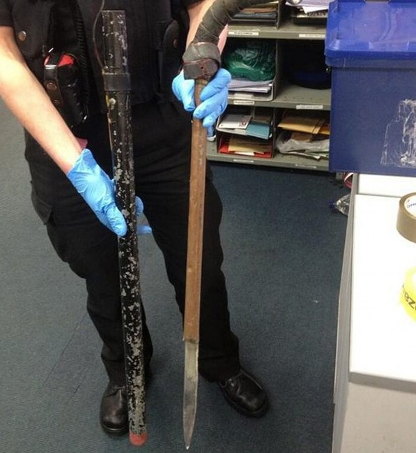 This sinister sword disguised as a walking stick is one of a number of deadly blades handed over to police after being seized by security staff at a hospital