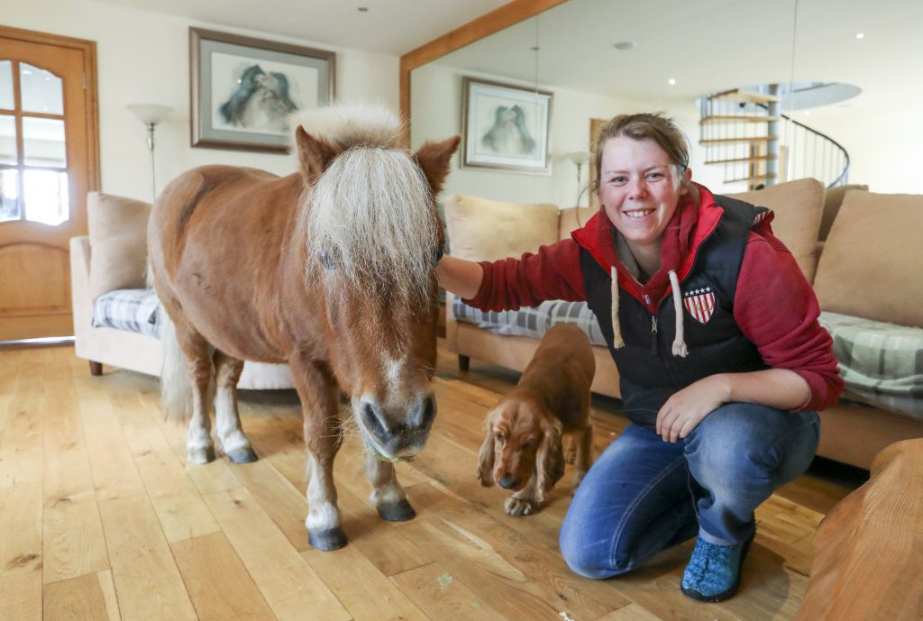 Stacey Johnston with her seventeen-year-old Shetland Pony Wee Bob