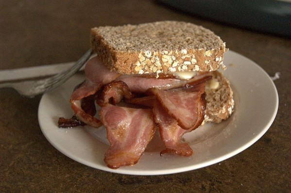 Craig Nicholson was arrested after tucking into a bacon roll similar to this one