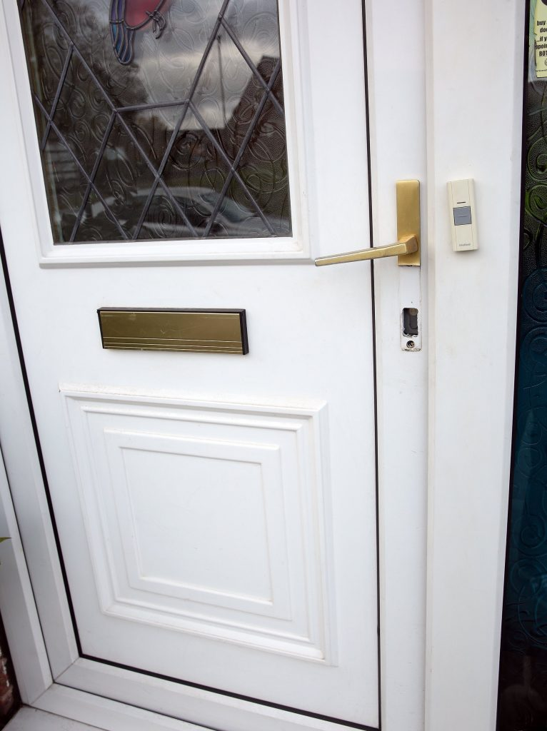 Frank and Nicola Gardner's door at their home in Sheffield.