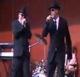 The Bath Blues Brothers at an earlier gig. Their show at the Bath Christmas Market was cut short for being too loud