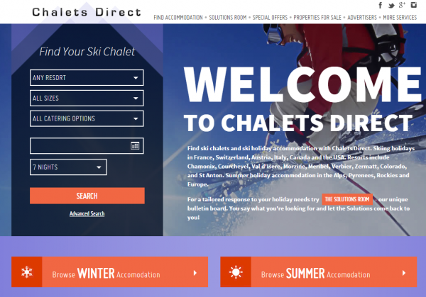 The new lThe new look website of Chalets Directook website of Chalets Direct
