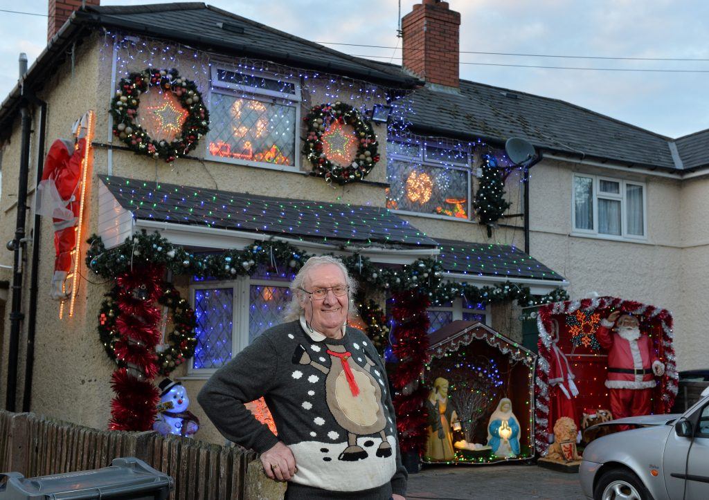 Christmas Crackers - John Copestick, 74 from Stirchley in Birmingham has switched on his lights ready for christmas. October 25, 2017
