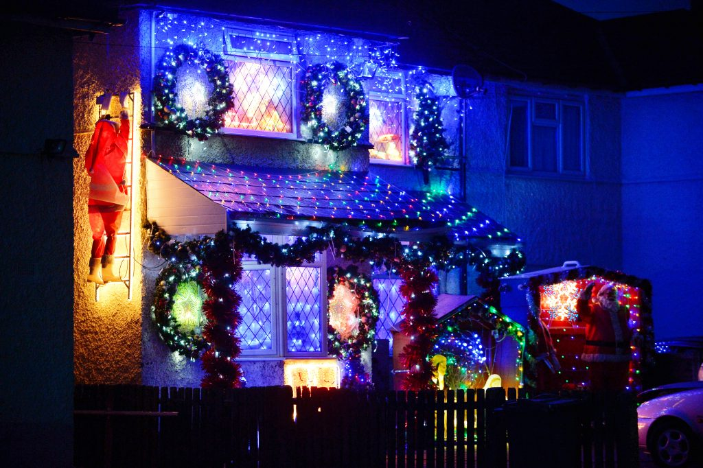Christmas Crackers - John Copestick, 74 from Stirchley in Birmingham has switched on his lights ready for christmas