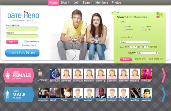 Date Hero is a dating site for gaming fans