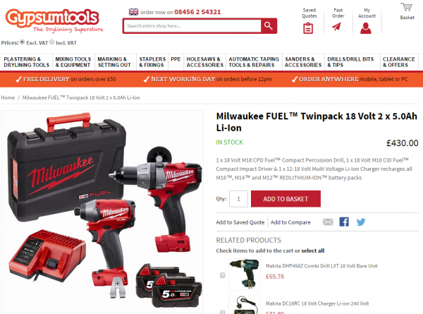 Gypsum Tools will now stock items made by Milwaukee