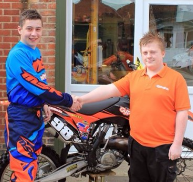 Motocross rider Thomas Simpson, 16, after landing his sponsorship deal with Gypsumtools
