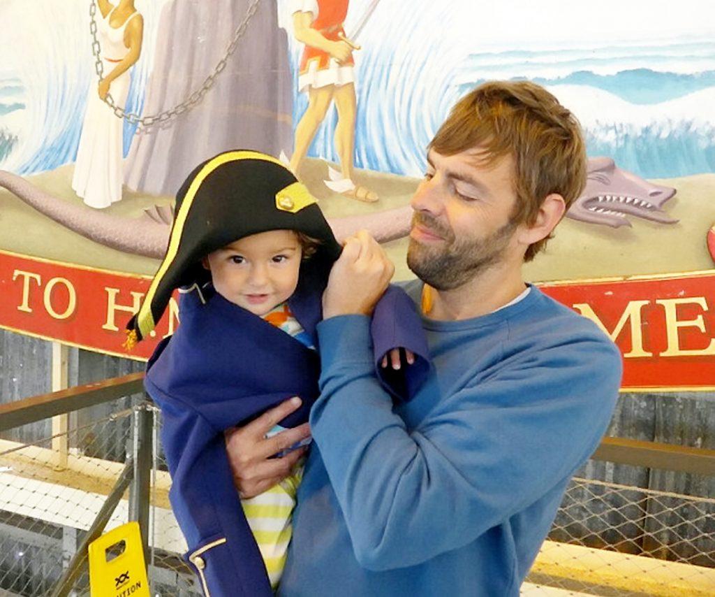 Michael Bury, 42, with his son Milo, 2.