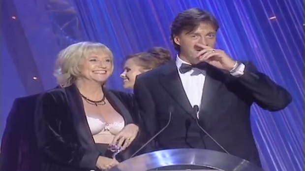 Judy Finnigan's bra pops out at the Brits in 2000