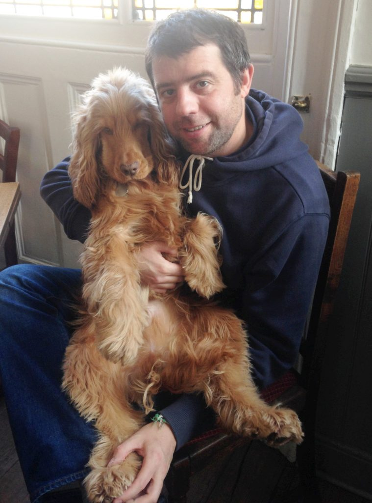 Rudi, a show-type Spaniel with owner Chris French.