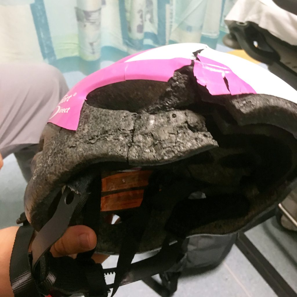 A 10-year-old girl cheated death after she survived being crushed by a 3.5 tonne truck as she rode her new bike - because she was wearing a £30 cycling helmet.