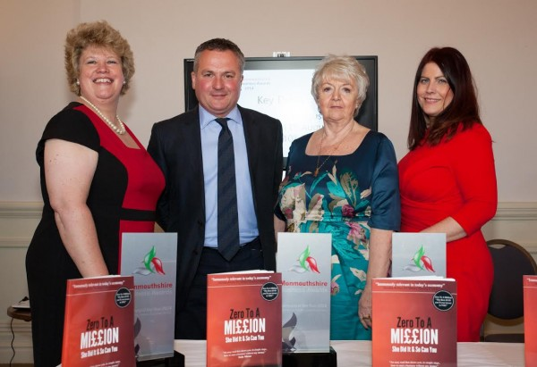 "Guest Speaker, entrepreneur Sylvia Marshall of Cosy Homes Online and Author of ""Zero to a Million""; Celebrity Host - Hywel James; Janet Harris - co-founder of the Monmouthshire Business Awards; Kellie Beirne of Monmouthshire County Council, attending the launch event of Monmouthshire Business Awards 2014"