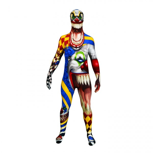 The clown morph suit is ideal for Halloween