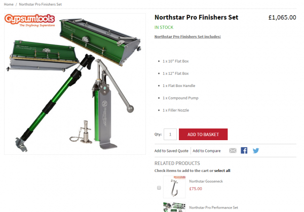The NorthStar finishing kit which is among those added to the new range at Gypsumtools