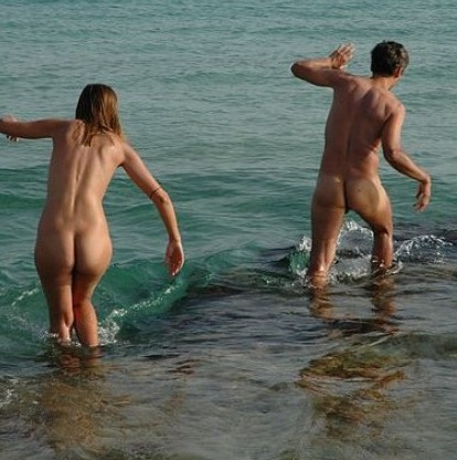 Nudists frolic in the sea at a beach similar to Polgaver in Cornwall which has begun attracting fans of dogging